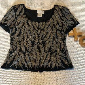 Vintage Papell Boutique Evening 100% Silk Top•L•